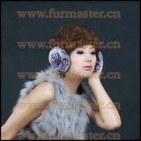 LFD-002A Rex Rabbit Fur Ear Muffs/Rose Flower Shape