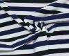 Pink Blue black white stripe yarn dyed knit fabric