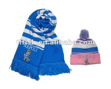 fashion hat and scarf ,sport knitted and winter warm knitted set
