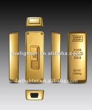 Golden USB electronic Cigarette Lighter ,E-lighter,Coil lighter,with memory function