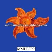 Star shape vintage glazed ceramic food divided plate