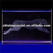 New arrival lifelike 3D laser Crystal Panther animal figurine