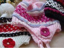 hand crochet Earflap Hat with flower (MSH0118)