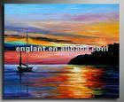 Sunrise scenery oil painting on canvas
