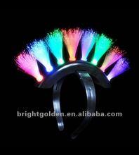 Flashing rainbow fiber optic Mohawk Headband