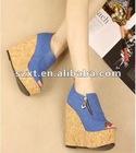 Ladies Blue Dress Shoes Blue Wedges Shoes Summer Canvas Shoes XT12080708