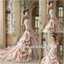 2012 Elegant strapless lace and taffeta puffy skirt white and pink bridal wedding dress