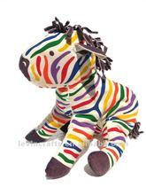 Vintage RAINBOW ZEBRA Juicy Juice Gum Mascot Stuffed Animal Plush