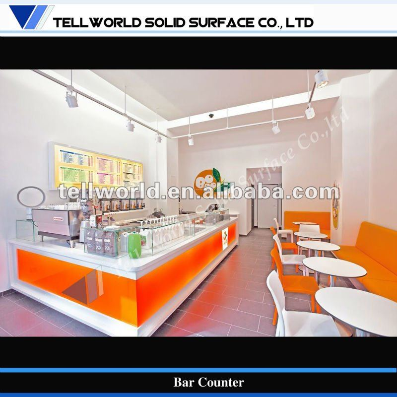 Modern Design Led Milk Tea Shop Bar Counter Buy