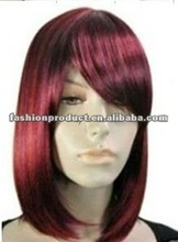 the new design party city wine red color synthetic party wigs