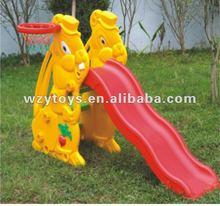 Child CE Plastic Happy Single Rabbit Slide with Basketball Ring