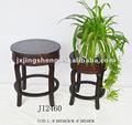 ronda de madera y mimbre extremo pequeño de mesa y taburete de madera pequeño taburete redondo