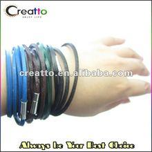 2012 Fashion Jewery Colorful Wrapped Colorful PU Leather Bracelet