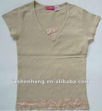 casual fashion white rice short sleeve girls T-shirts 2012
