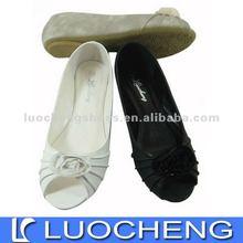 beautiful lady dress shoe with toe open pure white