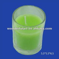 Green column filled glass votive candles