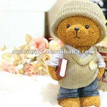 resin teddy bear figurines money box/decorative piggy bank