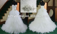 bridal sleeveless nice beadings sweetheart wedding dress made of soft tulle 2012