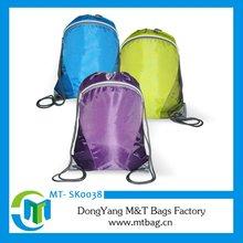 Shiny bright drawstring bags zipper upper opening