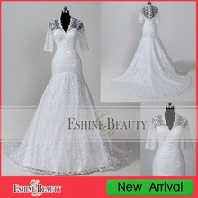WNA12031 Popular V neckline white full lace long sleeve wedding gown 2012