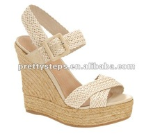 2013 pretty steps new fashion wedge shoes for women ,new arrival woven wholesale women shoes from Guangzhou