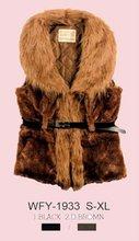 2012 latest design lady fashion fur sleeveless jacket
