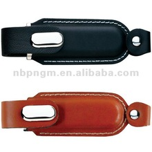 Leather Flip-close custom flash drive
