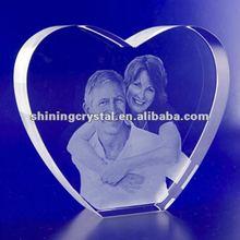 3D laser Crystal Portraits Heart Crystal