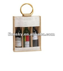 Gift wine tote jute bag