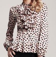 Animal impresso camisa com folho camisa& sexy camisa senhora do escritório