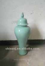 large celadon ceramic jar with lid WRYKB85