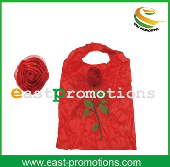 reusable rose eco-friendly polyester folding shopping bag