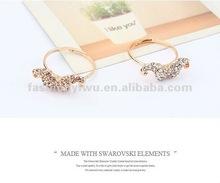 Korean fashion mustache diamond opening rings