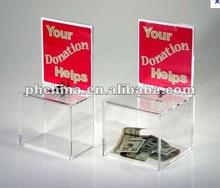AN-585 Hot!!!! Personalized Countertop Acrylic Contribution Box with Lock,Acrylic Donation Box