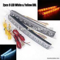 Universal DRL 2pcs Car White & Amber 9 LED Daytime Running Light