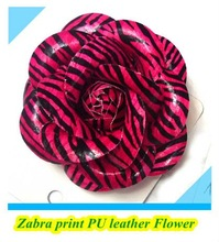 2012 new hot pink Zebra PU flower hair clip