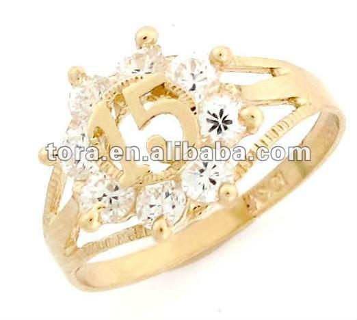 Moda 10 k oro 15 de cumpleaños años de la CZ de quinceañera anillo de la joyería de oro anillo de diseños para las niñas de estilo español anillos