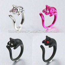 Kitsch Color Crystal Eyes Cute Cat Shaped Kitten Ring Adjustable Size