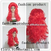 new design and 65cm crazy fashion cheap red party wigs