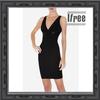 v neck black beading bandage dress simple design women fashion dress