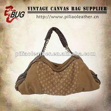 2012 Antique Canvas Washed Handbag/Satchel for Men/Women With Leather Trim/Canvas Bag