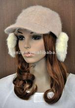 Cute & Warm Rabbit Fur Winter Baseball Hat Visor Cap With Ear Covers