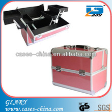 Aluminium cheap makeup vanity case with pink color