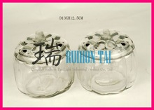 hot selling diameter 13cm glass pumpkin jar
