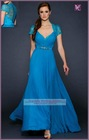 AEL0177 Blue Chiffon Lace Mother Of The Bride Dresses Evening Dress