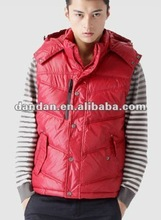 men's red vest, 100% nylon winter vest,