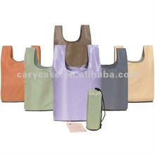 eco foldable polyester shopping bag with small pouch,column pouch fold up polyester bag