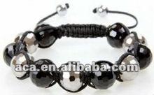 Magnetic stone full AAA quality black and white shamballa bracelet