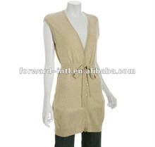 solid colour cashmere wool cardigan for ladies with belt