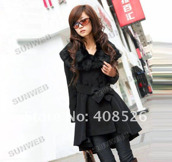 Women's Fashion fur coats winter warm Double-breasted long coat 7642